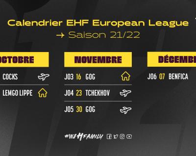 Le calendrier EHF European League est connu